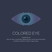 Modern colored emblem eye in a futuristic style. Vector illustration on a dark background for advertising