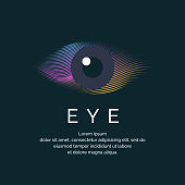 Modern colored logo eye in a futuristic style. Vector illustration on a dark background for advertising