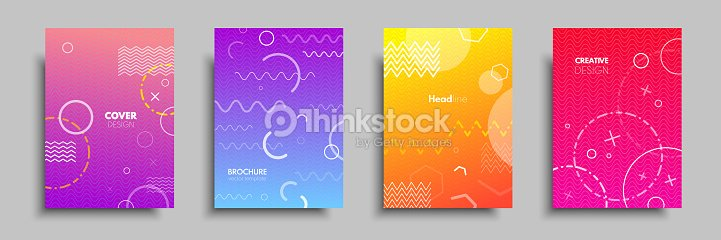 Modern colorful covers with multi-colored geometric shapes and objects. Abstract design template for brochures, flyers, banners, headers, book covers, notebooks : stock vector