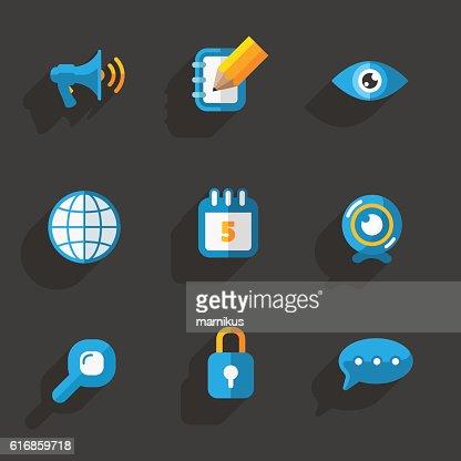 Modern colorful flat social icons set on Dark Background : Vector Art