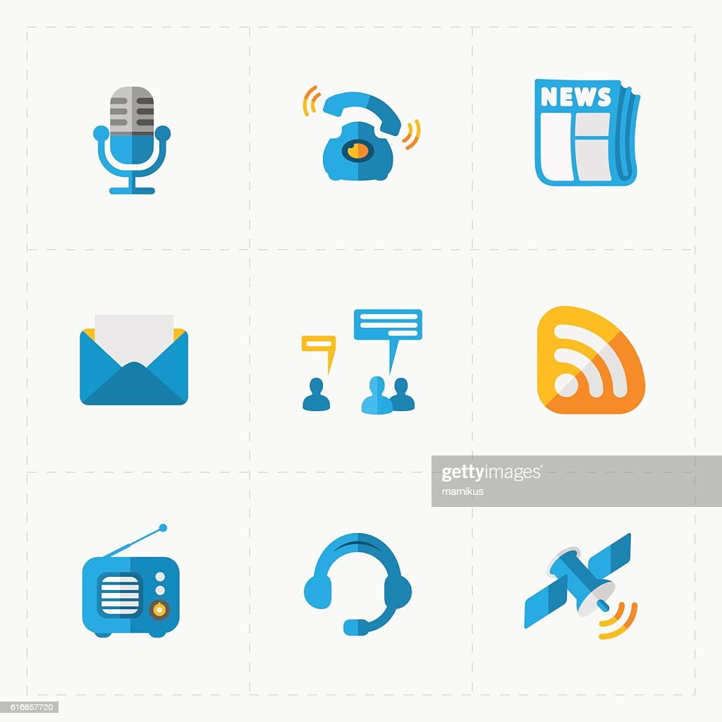 Modern colorful flat social icons set on White : Vector Art