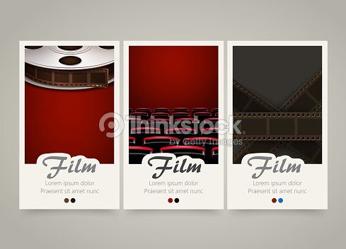 Modern colorful vertical cinema banners film movie flyer or modern colorful vertical cinema banners film movie flyer or invitations vector art stopboris Image collections