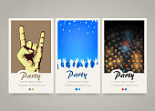 Modern colorful vertical music party banners. Party night flyer set. Backgrounds with people crowd hands, rock and roll sign, night lights. Dance or musical performance invitation. Vector illustration