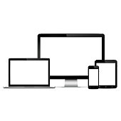 Modern computer monitor, laptop, digital tablet and mobile phone with blank screen. Isolated on white background. Vector eps10