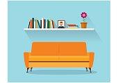 Sofa and fhelfSofa and fhelf with colorful books. Retro flat style. Modern design interior orange sofa and bookshelves