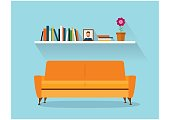 Sofa and fhelfSofa and fhelf with colorful books. Retro flat style. Modern design interior orange sofa and bookshelves