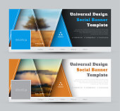 Modern Design vector black and white banners for social networks with triangles and a place for photo and text. Universal Cover template with Orange and Blue Elements