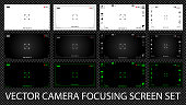 Modern digital video camera focusing screen with settings 12 in 1 pack. White, black and green viewfinders camera recording. Vector illustration
