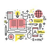 Modern education and online learning concept collage. Modern thin line art icons. Linear style illustrations isolated on white.