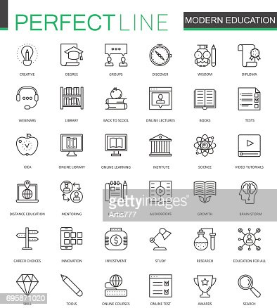Modern education thin line web icons set. Online video training outline stroke icons design. : Vector Art