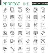 Modern education thin line web icons set. Online video training outline stroke icons design