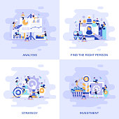 Modern flat concept web banner of Investment, Strategy, Analysis and Find the Right Person with decorated small people character. Conceptual vector illustration for web and graphic design, marketing.