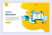 Modern flat design concept of Online Education for website and mobile website development. Landing page template. Online training courses, specialization, university studies. Vector illustration.