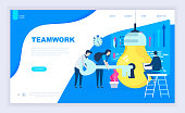 Modern flat design concept of Teamwork Project with decorated small people character for website and mobile website development. UI and UX design. Landing page template. Vector illustration.