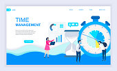 Modern flat design concept of Time Management with decorated small people character for website and mobile website development. UI and UX design. Landing page template. Vector illustration.
