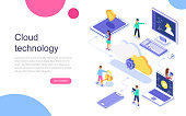 Modern flat design isometric concept of Cloud Technology for banner and website. Landing page template. Data center, software solutions to share informations on digital network. Vector illustration.