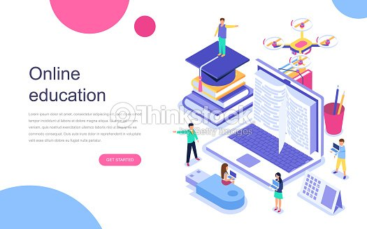 Modern flat design isometric concept of Online Education for banner and website. : stock vector