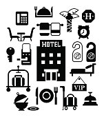 Vector icon design-Silhouette illustration for hotel service set in monochrome-reception, reservation, morning call, cleaning and concierge for web and mobile application.