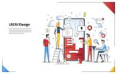 UI design concept with character and text for designer. Device content place infographic. Software group, kit for phone seo programming. UX, digital hero creative flat line art vector illustration