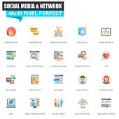 Modern flat social media and network icons set for website and mobile site and apps. Contains such Icons as Follow, Multimedia, Conversation. 48x48 Pixel Perfect. Editable Stroke. Vector illustration.