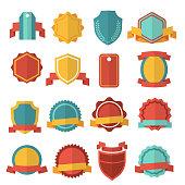 Modern flat badges set. Collection sticker ribbon emblem. Vector illustration