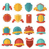 Modern flat badges set. Collection sticker ribbon emblem. Vector illustration