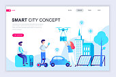 Modern flat web page design template of Smart City Technology decorated people character for website and mobile website development. Flat landing page template. Vector illustration.