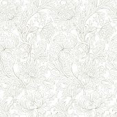 Seamless design for coloring book,  wallpaper, textile and drawing.  Print seamless pattern .  Vector.  Background