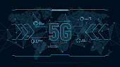 Modern futuristic background for technology 5G with polygons connection structure and world map in pixels. Digital data visualization. Business technology concept. Vector illustration.