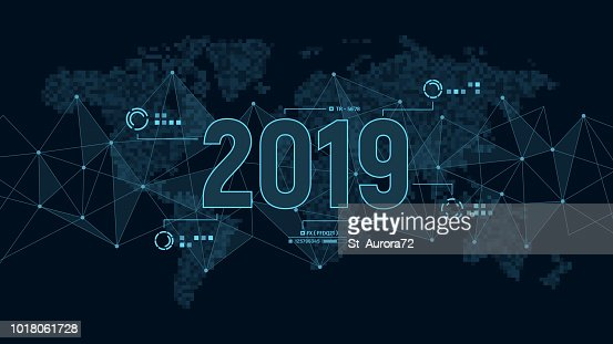 Modern futuristic template for 2019 on background with polygons connection structure and world map in pixels. Digital data visualization. Business technology concept. : Vector Art
