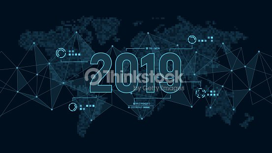 Modern futuristic template for 2019 on background with polygons connection structure and world map in pixels. Digital data visualization. Business technology concept. : stock vector