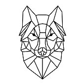 Modern Geometry Wolf Design Tattoo Vector Image