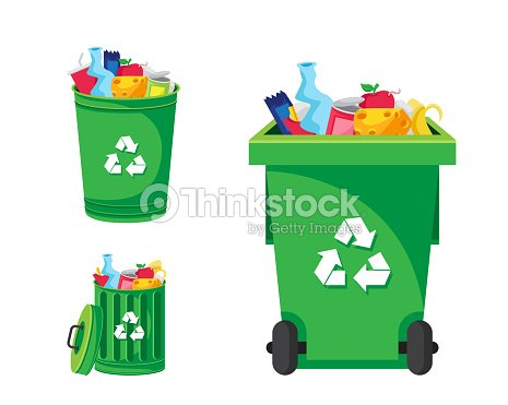 Modern Green Recycle Garbage Bin And Trash Object Illustration : stock vector
