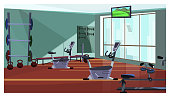 Modern health club with exercising equipment vector illustration. Gym with fitness equipment and weights, television set hanging on ceiling. Body conscious concept