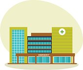 A modern hospital building, a healthcare system and a medical facility with all departments. City building. Modern vector illustration isolated on white background.