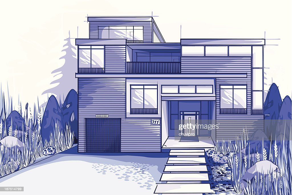 Modern house in blue colors vector art getty images for Blue modern house