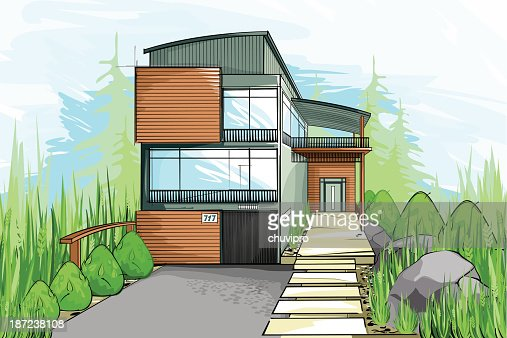 Modern house sketch vector art getty images for House sketches from photos