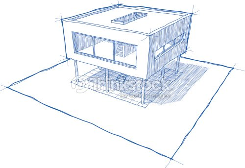 Modern House Sketch Vector Art Thinkstock - Chambre En Perspective ...