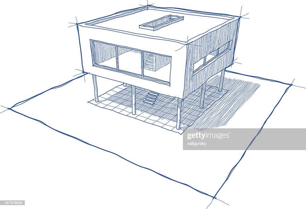 Modern House Sketch Vector Art Thinkstock Chambre En Perspective