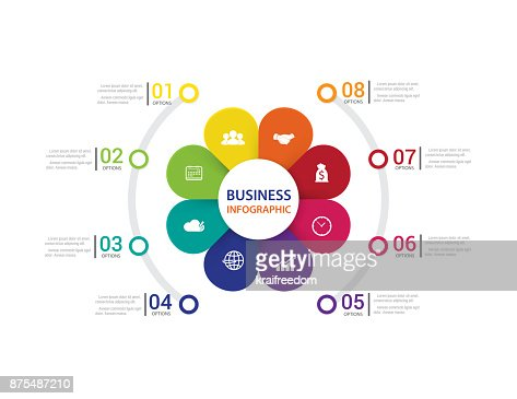 Modern infographics process  with connected  8 steps. Vector. : stock vector