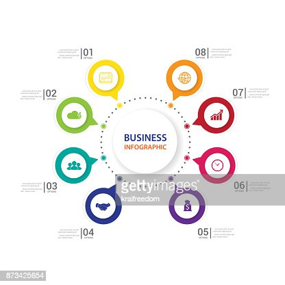 Modern infographics process  with connected ,for 8 steps. : stock vector