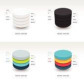 Modern Infographics template cylinder vector set