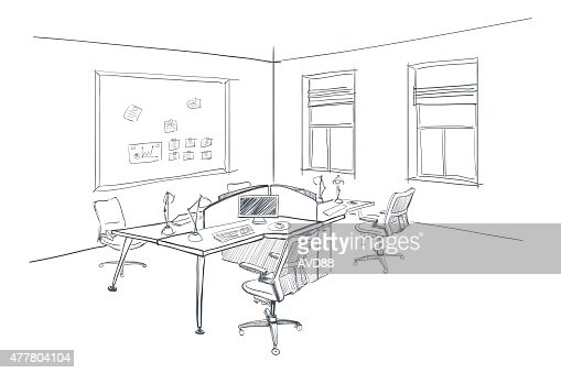 Interior Design Office Sketches modern interior sketch of open space office vector art | thinkstock