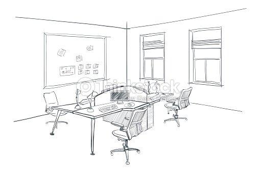 Modern Interior Sketch Of Open Space Office Vector Art Thinkstock
