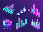 Modern isometric business infographic. Colorful purple and cyan percentage info charts, statistics columns and diagrams. Website data 3d presentation statistic chart concept vector set illustration