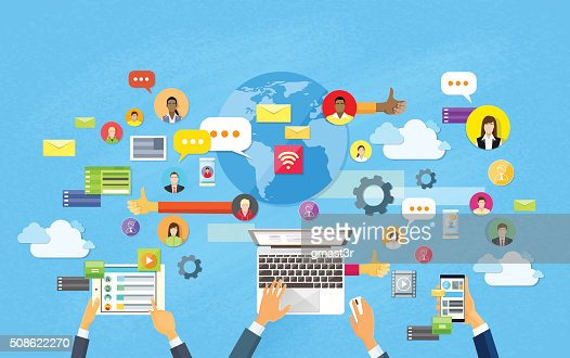 Modern Laptop Tablet Smart Cell Phone Social Network Communication Concept : Vector Art
