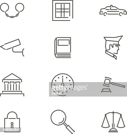 Modern Line Law Legal Justice Icons And Symbols Set For