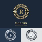 Vector illustration of Modern logo design. Geometric linear monogram template. Letter emblem R, F, D. Mark of distinction. Universal business sign for brand name, company, business card, badge.