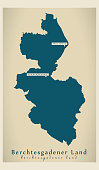 Modern Map - Berchtesgadener Land county of Bavaria DE
