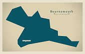 Modern Map - Bournemouth district and unitary UK